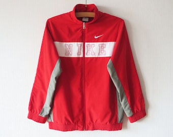 Kids Red NIKE Jacket NIKE Running Parka Jogging Aerobics Nike Boys Track Jacket Kids Sport Coat Just Do It Size XL Large Red Nike Jacket
