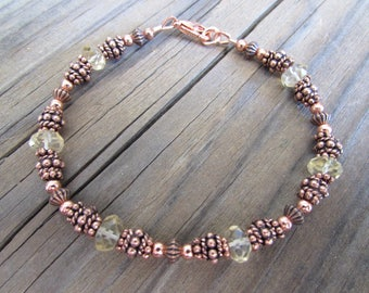 Beaded Copper Bracelet with Citrine in Antiqued Copper with Handmade Beads, Artisan
