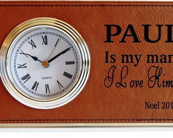 Boyfriend Gift - Gifts for Husband - Personalized Clock - Father's Day Gift - Office Gift for Him - Desk Clock, LCH002