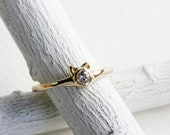 14K Yellow Gold Tiny Mini Cat White Topaz Ring, or 14K Rose Pink Gold,Cat Fine Jewelry,MADE TO ORDER