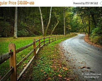 SALE 20% Off Winding Country Road in Autumn, Landscape Photograph, Fence on Cuttalossa Road, Bucks County, Pennsylvania, Trees, Peaceful, Ze