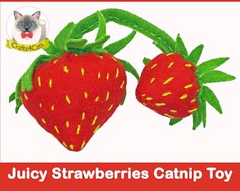 Strawberries catnip cat toy // Free shipping // Unique catnip cat toy,cute cat toys,vegetable catnip toy,felt catnip toy,Crafts4cats