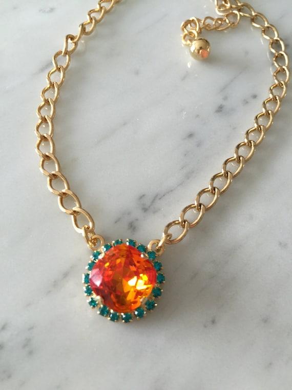 Tangerine Crystal Necklace, Swarovski Crystal and Rhinestone Necklace, Swarovski Tangerine Pendant, Orange Crystal Pendant