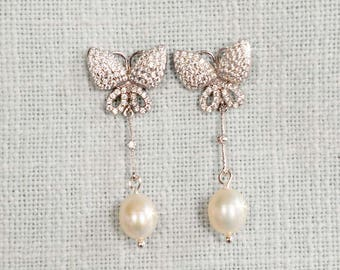Handmade Micro Pave Cubic Zirconia CZ Butterfly and Freshwater Pearl Bridal Dangle Earrings, Bridal, Wedding (Pearl-839)