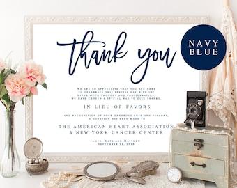 Navy blue wedding etsy wedding donation template in lieu of favors template in lieu of favors sign download navy wedding junglespirit Images