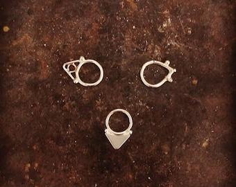 Tribal Septum Ring for pierced nose. septum piercing. silver septum ring. tribal septum ring. tribal septum. gold septum. septum jewelry.
