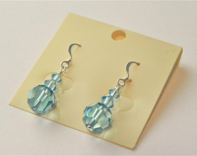 Swarovski crystal 'aquamarine' sterling silver earrings.