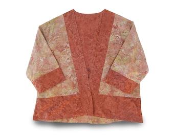 Womens Kimono Jacket, Batik Womens Jacket, Kimono Crop Jacket, Batik Reversible Jacket, Asian-style