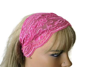 Pretty Pink Stretch Lace Headband, Bridesmaids Hair Wrap-Anytime fashion-Summer headbands-Summer fashion (006)