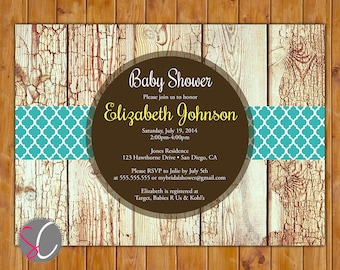 Rustic Wood Baby Shower Invitation Teal & Walnut Brown Gender Neutral Shower Bridal Baby Birthday Invite - Printable JPG File Invite (206)