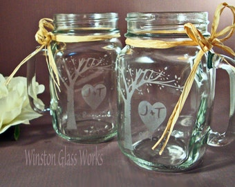 Rustic Blooming Tree Mason Jar Mugs