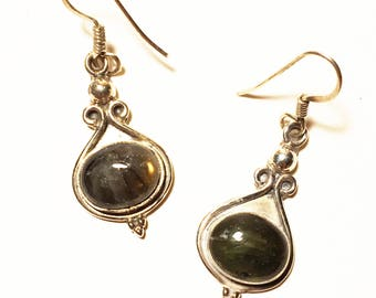 925 Women's Sterling Silver Earrings with Smokey Quartz