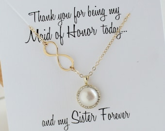 Maid of Honor Sister Gift   Infinity Pearl Gold Necklace    Halo Pearl Necklace