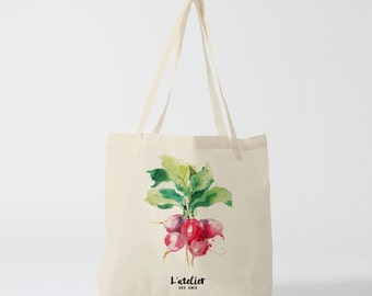 X76Y tote bag vegetable radish, market bag, shopping bag, bag courses, diaper bag, computer bag, tote bag, cotton tote bag, vegetable