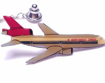 Vintage 1970's Northwest Orient Airlines Enameled DC-10 Tie Tac / Lapel Pin