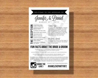 Modern Wedding Program with Thank You Note, In Loving Memory and Fun Facts about The Newlyweds and Wedding Hashtag