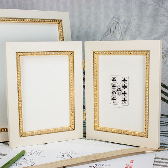 Hinged Double Frame 5x7 inch Waxed White with inner gold-boule slip ...