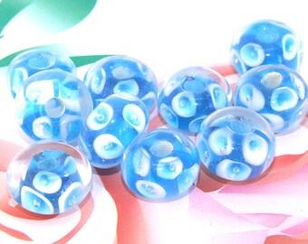 5beads/lot Charm Blue Bubble Flower Rondelle Blue Lampwork gemstone beads 8mmx13mm