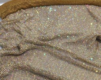 Gold Rhinestone Sheet with AB Crystal, Gold Rhinestone Fabric with AB Crystal