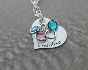 Personalized Hand Stamped Sterling Silver Heart Necklace - Grandma Swarovski Crystal Birthstones - Grandchildren - Grandmother - Gift