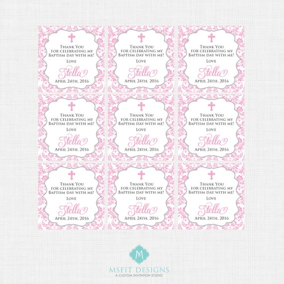 Printable Baptism Favor Tags - Favour Tags - Thank You Tags - Christening - Party Tags- Digital Printable