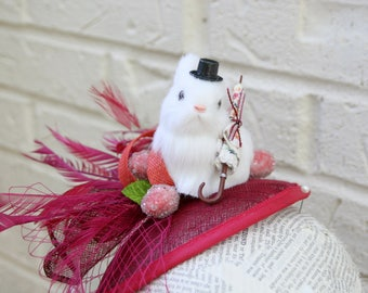 Parasol Bunny Novelty Fashion Hat:  Quirky Vintage Victorian Rabbit Fascinator, Derby or Easter