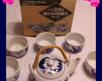 Handpainted Chinese Tea Set with Water Lillies in the original box, Excellent Condition, Great Wedding Gift, with Reduced Shipping