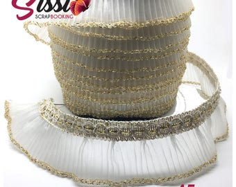 1 M trim Ribbon beige and ivory Golden organza pleated scrapbooking card haberdashery 45mm