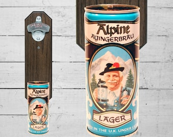 Bar Gift Alpine Lager Wall Mounted Bottle Opener with Vintage Beer Can Cap Catcher - Stocking Stuffer Groomsmen Gift for Guy