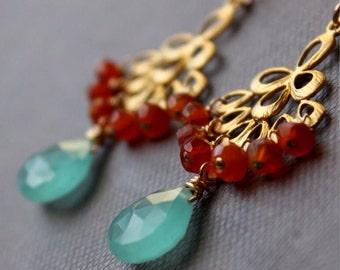 Aqua Blue Chalcedony, Carnelian Gold Earrings- Chandelier Earrings