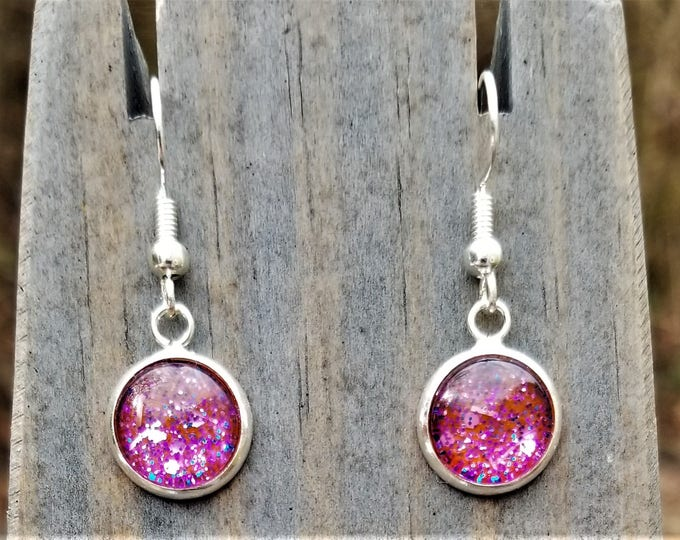 Red & Pink Hand Painted Glass Glitter Drop Earrings