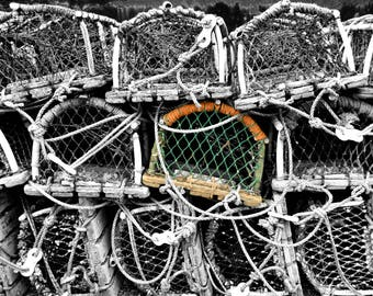 Fishing Photography, Seaside, Crab Pots, Whitby, England, Home Decor, 10x8 Print, Selective Colour