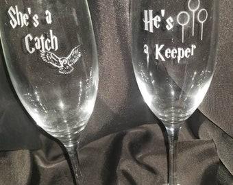 Custom Harry Potter wedding glasses, etched stemmed Harry Potter champagne glasses