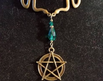 """14 1/2"""" Pentagram and snakes 2mm leather necklace"""
