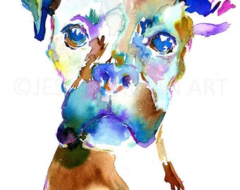 """Dog Watercolor Painting, Print of Dog, Dog Art, Watercolor Dog """"Lacey the Boxer"""" Watercolor Poster, Watercolor Painting of Pet"""
