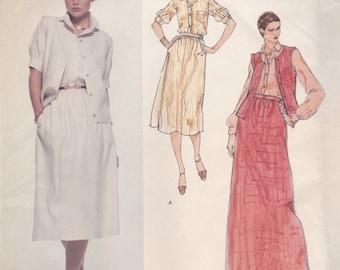 Calvin Klein Vest, Skirt & Blouse Pattern Vogue 1672 Size 14 Uncut