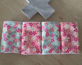 Baby burp cloth / dribble cloth - set of 4
