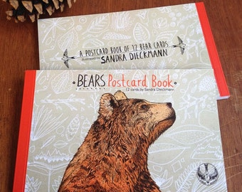 BEARS Postcard Book // contains 12 illustrated cards