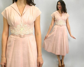 50s Pink Cotton Dress | Embroidered Day Dress | Georgette |  Small
