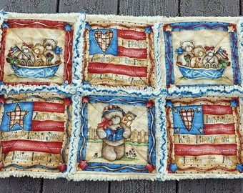 Table Center Piece,Table Runner, Table Topper , Americana, primitive, rag quilt, Pledge, Independence