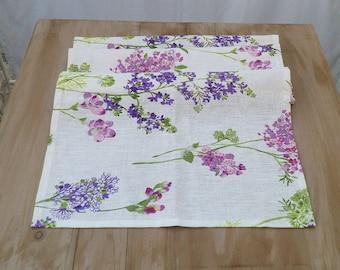 Floral runner for table in linen, shabby runner, country, breakfast towel, white runner, runner with violet and liliac flowers, gift for mum