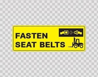 Decal Sticker Fasten Seat Belts Atv Waterproof Racing safety sign 19298