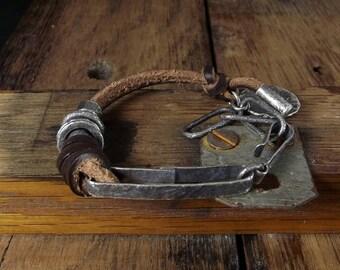 Raw sterling silver bracelet Leather bracelet Boho jewelry Oxidized Raw sterling silver