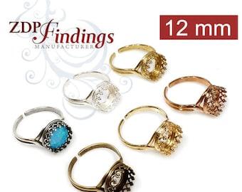 4pcs x Round 12mm Crown Bezel Cast Ring Setting Fit Swarovski Rivoli 1122 Crystal, Choose your Finish (8480V)