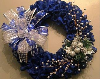 Blue Burlap Sliver Bells Wreath