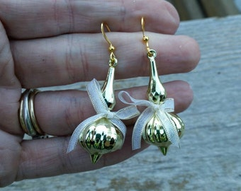 Gold Ornament Earrings with little bows - Christmas Holiday Jewelry - repurposed christmas decorations - clip on dangle available