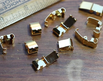 Gold Plated Fold Over Clasps Pack of 10 Gold Foldover Bracelet Connector Jewelry Making Supplies