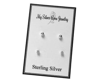 Sterling Silver Two pair earring set, 3mm Ball Posts and 2.5 mm CZ post earrings, multiple earring set, Cartilage Earrings