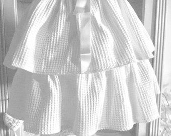Lamp shade white double ruffle skirt