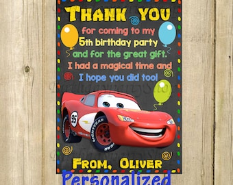Cars thank you card etsy disney cars thank you card disney cars birthday thank you note personalized digital file solutioingenieria Image collections